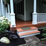 New porch with PVC column wrap - Midcoast Maine Builder New Leaf Construction
